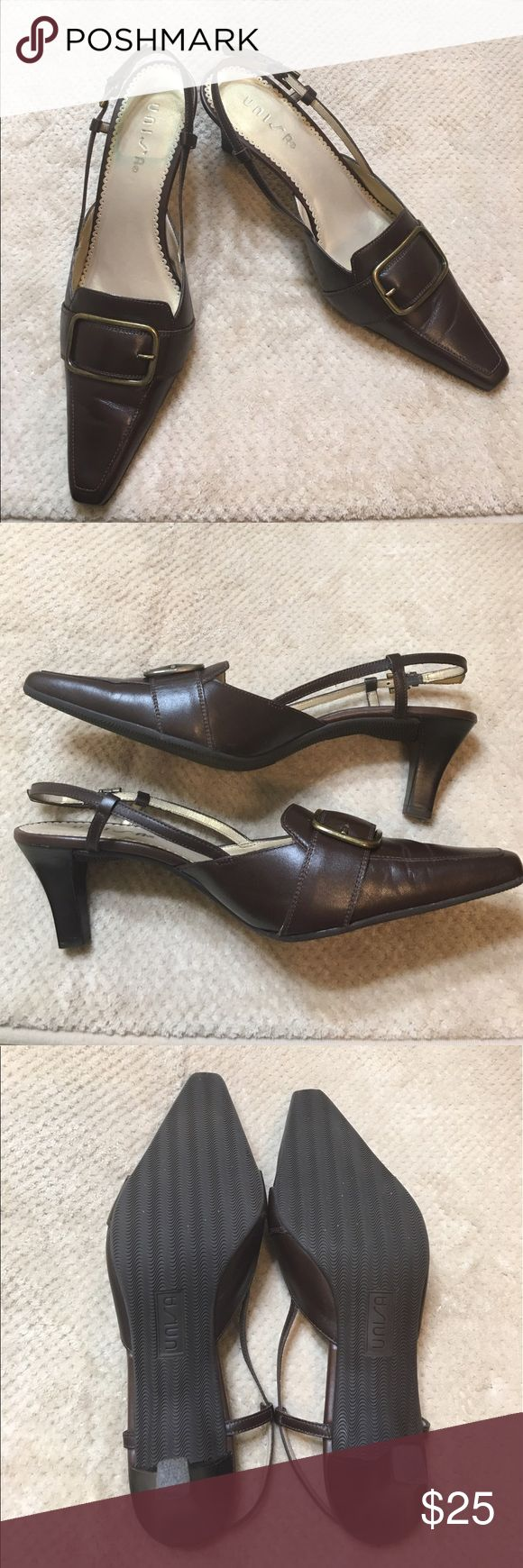 "Unisa Buckeye Devcal Slingback Sandals Genuine leather brown slingback with 2.75"" heel. Great condition with moderate wear on heel. Unisa Shoes Heels"