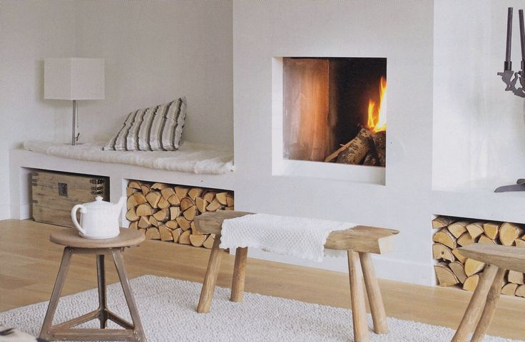 Built in bench at fireplace