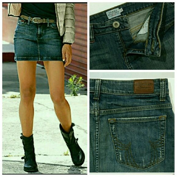 Denim mini skirt Likelike new condition . has a small spot is circulated at the fourth picture color, dark wash, front closure, button, zip, multipockets. Pair it with a plaid and your favorite boots or a t-shirt and sneakers for different looks. Tommy Hilfiger Skirts Mini