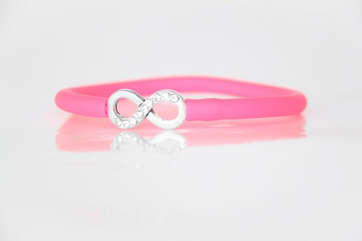 Diamante Infinity Bracelet with Pink Tube Strap. Unique handmade jewellery in Johannesburg, South Africa.