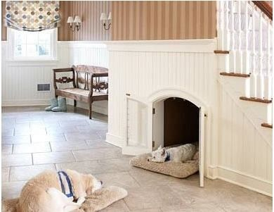 Love this adorable dog bed idea under the stairs!!! #Brilliant #homedecor