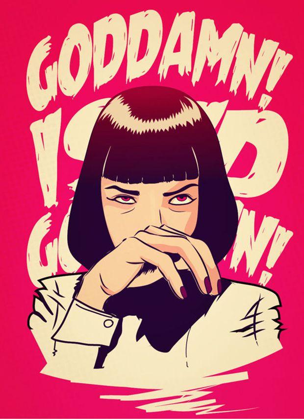 ilustrações pop cartoon mad mari pulp fiction