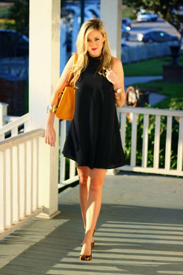 Cliche Magazine Blogger Spotlight Feature, plated trapeze black dress, yellow purse, Dooney and Bourke, @marshalls, @dsw, leopard pumps, gold cuff