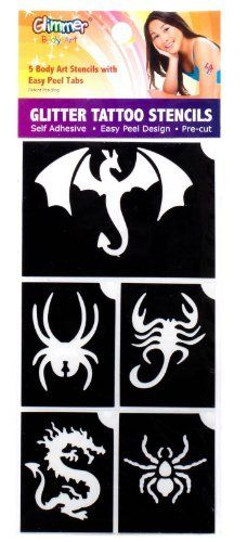 Dragons and Spiders Glitter Tattoo Stencil Set Party Accessory by Glimmer Body Art, LLC. $4.65. Easy peel design. Self adhesive. Pre-Cuts. Includes (5) glitter tattoo stencils.