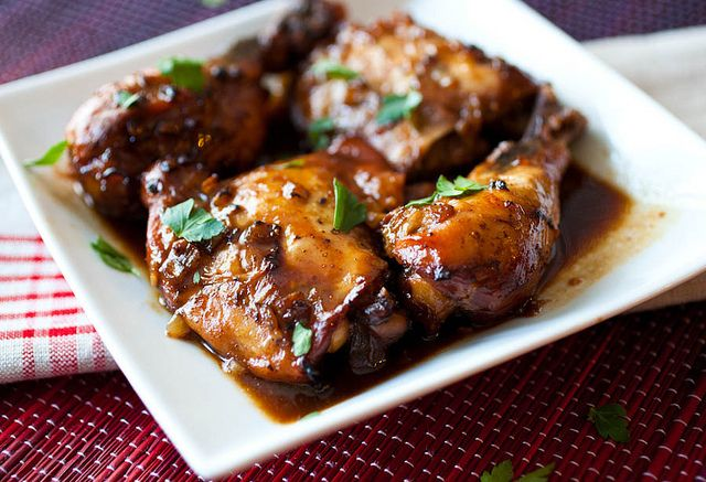 Slow cooker chicken adobo - a traditional Filipino dish made in your slow cooker at home.
