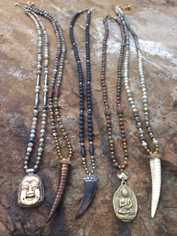 Horn and Buddha necklaces on natural beaded chains. Email lisajilljewelry@gmail.com for prices and to purchase.