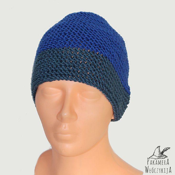 Handmade Piękna, niebiesko-szara czapka! Ręcznie robiona.  http://pakamera.wix.com/pakamera-wloczykija#!chabrowa/c1ked
