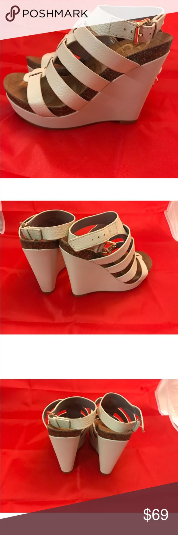 SAM EDELMAN LEATHER WHITE WEDGE SANDALS SIZE 6.5 BRAND NEW SAM EDELMAN LEATHER WHITE WEDGE SANDALS SIZE 6.5 NEW WITHOUT BOX CUTE FOR VALENTINE'S DAY DATE! Sam Edelman Shoes Sandals
