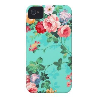 Vintage Elegant Pink Red Yellow Roses Pattern iPhone 4 Case