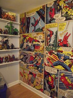 Marvel Comics wall mural... It looks amazing in the figure room. Every big boys dream room almost complete...