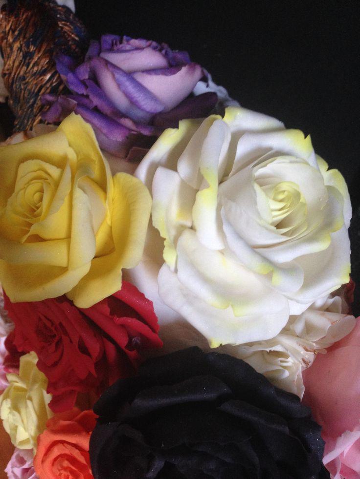 Sugar roses up close