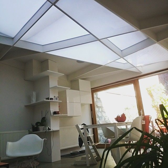 1920's house in Lille totally remade. Still in progress. #architecture #interior #ceiling #traingle #vitra