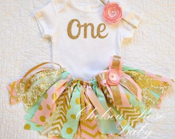 Pink Mint Gold Baby Tutu First Birthday Outfit by ThePickledPeanut