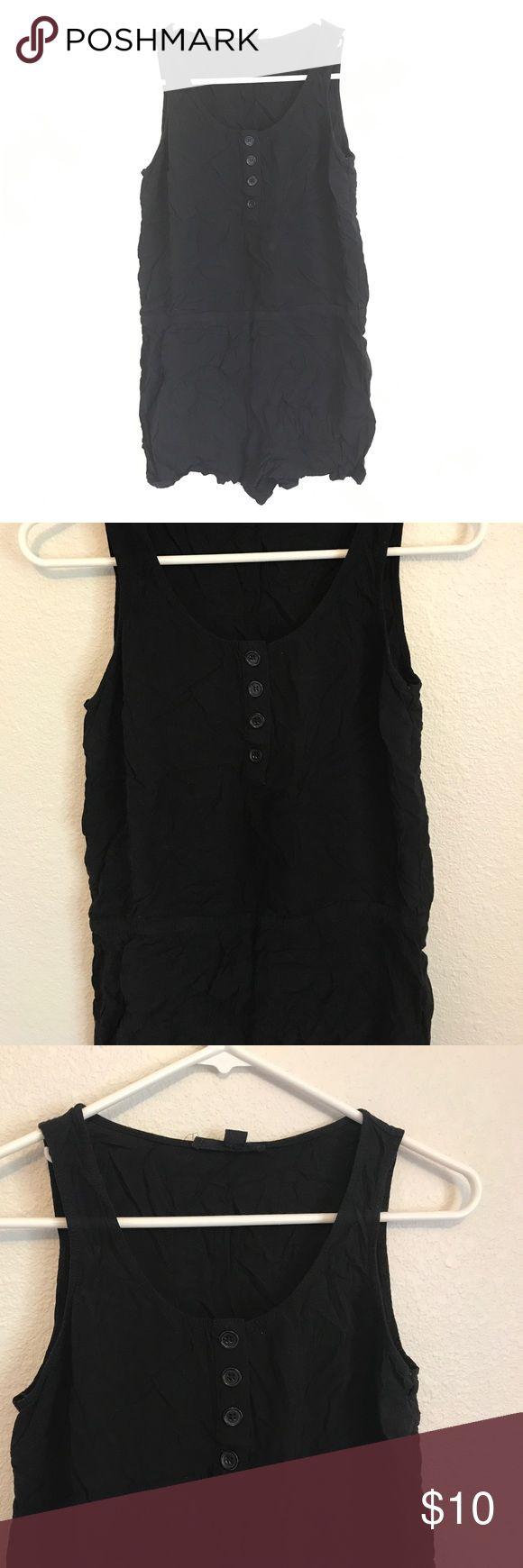 F21 Black Romper Forever 21 Black Romper, shorts, button up chest, Size Medium, Never worn Forever 21 Dresses