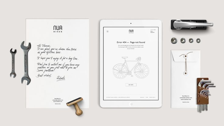Nua Bikes. Minimal branding, handmade stationery