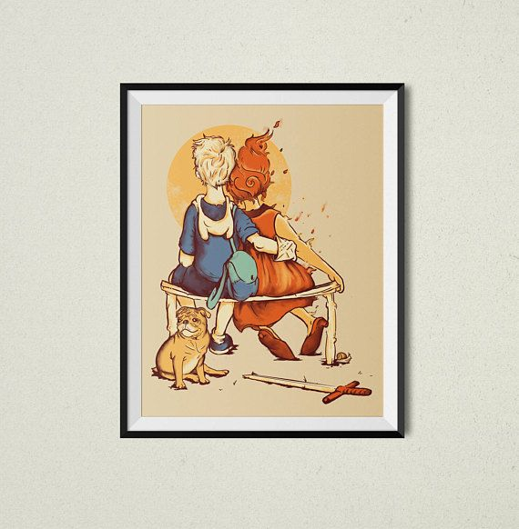 Rockwell Time Print | Adventure Time Inspired | Pop Culture Art ...