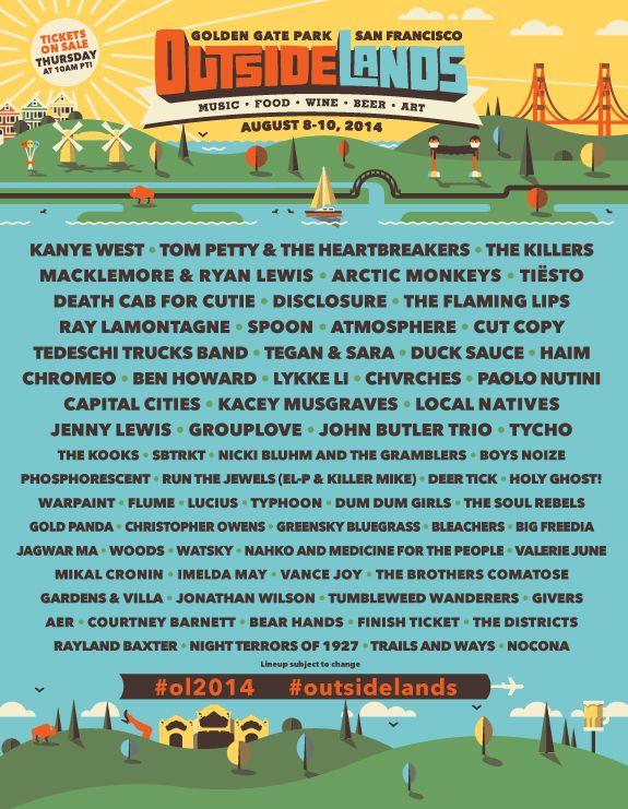 Outside Lands 2014 - Kanye West, Tom Petty, Arctic Monkeys, the Flaming Lips, Spoon, Atmosphere, Tegan & Sara, Chromeo, Capital Cities, Tycho, SBTRKT, Flume...