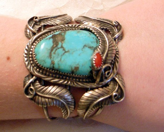 Turquoise Coral Bracelet - Huge And Fabulous - Native American Designer One Of A Kind Silver Cuff - Signed