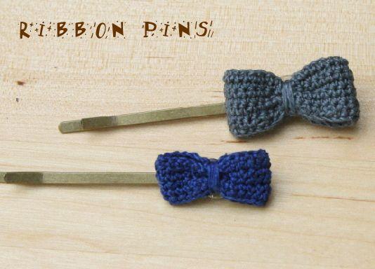 チェコのリネン糸で編んだリボンのヘアピンです