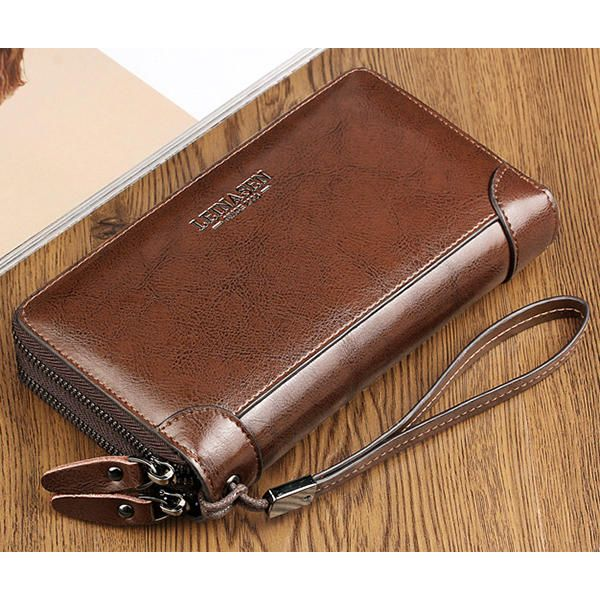 Multi-function Business Clutch Bag High-capacity Genuine Leather Oil Wax Wallet - US$29.99