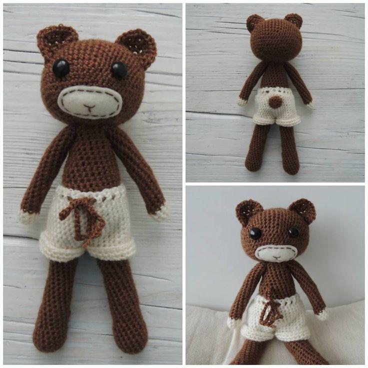 Teddy bear. Handmade. Crochet. Toy. Yarn over