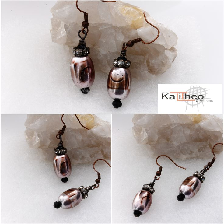 KTC_164  Drop Earrings with hand painted large glass beads, black with diamonte roundel and faceted glass beads. Approx. 5 cm including ear hooks.  AU $12.00  #fun #minimalist #trends