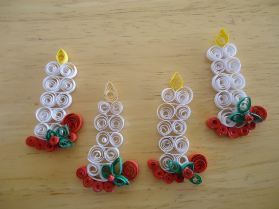 Set of Quilled Candle Embellishments by CBJL on Etsy, $4.00