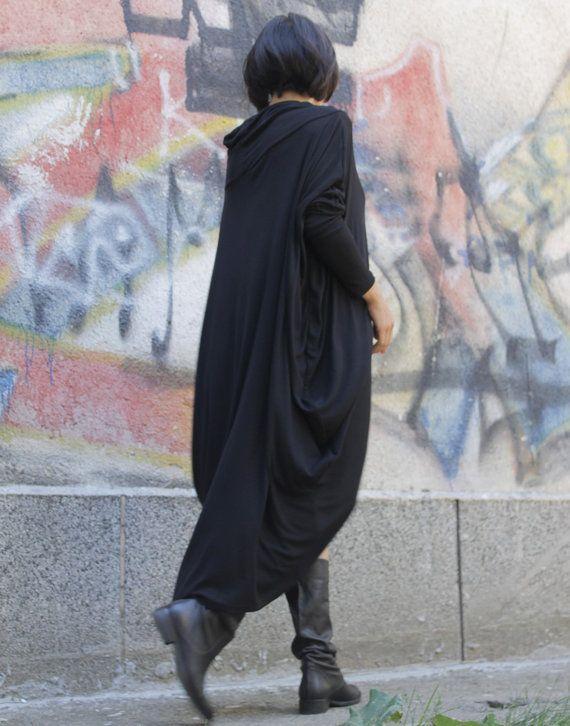 RAYA black extravagant loose asymmetrical dress/ plus size tunic / oversized / long sleeved dress on Etsy, $73.00