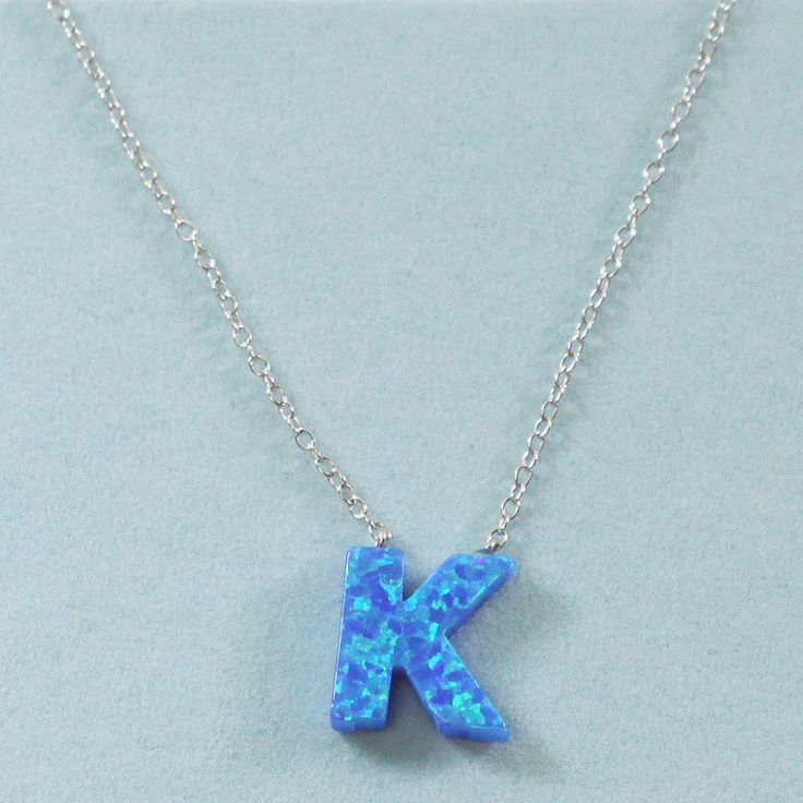 925 Sterling Silver Opal K-Initial Pendant Necklace