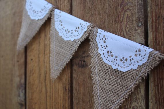 Burlap and Paper Doily Banner Wedding by HeavenandEarthDecor