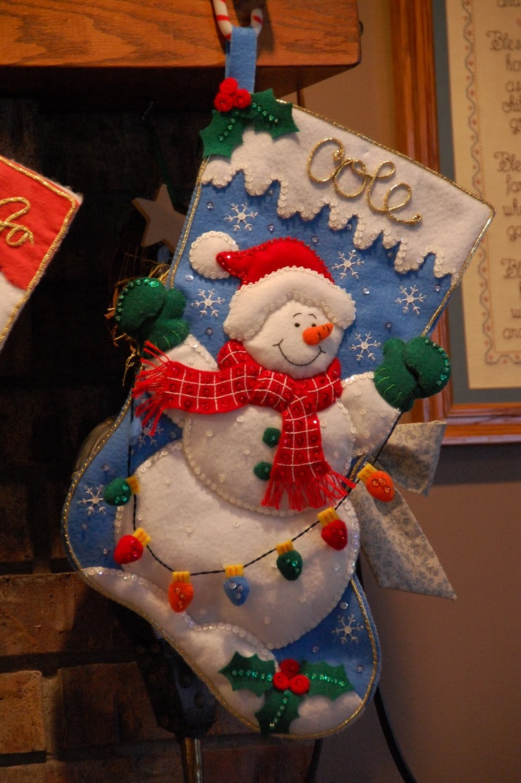 Snowman with Lights Bucilla Stocking Kit | MerryStockings will have it in stock July 2014.