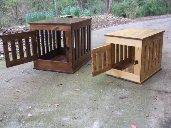 Dog Crate End Table, Wooden Dog Kennel, Indoor Wood Dog House