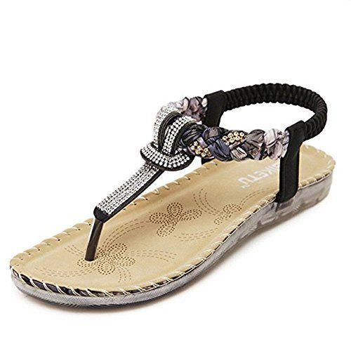 MIUINCY Women's Summer Rhinestone Bead Bohemia Folk Round Dunlop Clip Toe Sandals Boho Beach Flip Flops Flat Elastic T-Strap Post Thong Sandals Shoes (40 EU, beige)