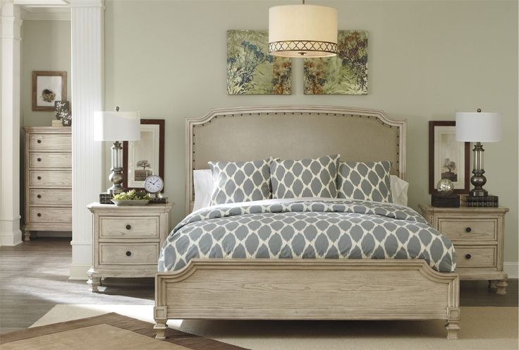 California king panel bed and california on pinterest for Demarlos upholstered panel bedroom set