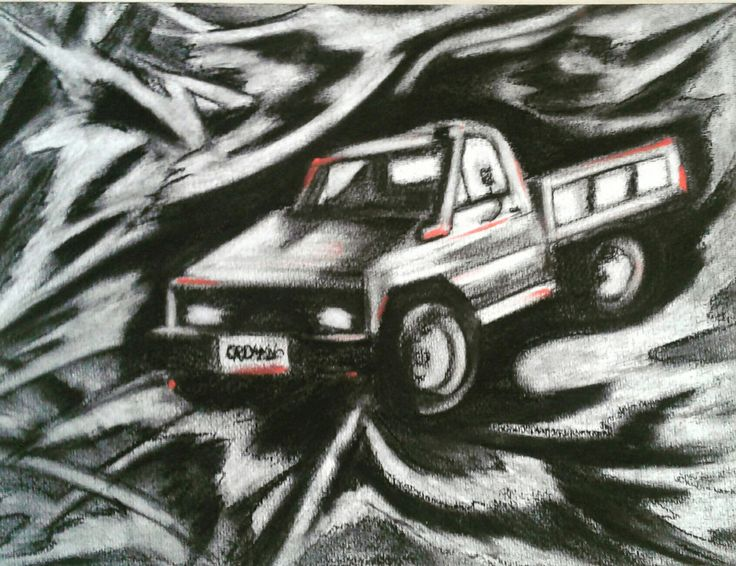 Abstract Charcoal Drawing of Boyfriends ute