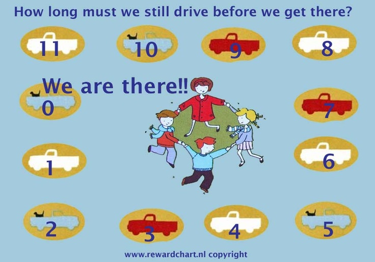 Children can countdown the hours drive  in the car with this countdown chart!  No questions anymore how long you still have to drive!!