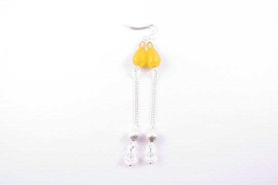 Long Chain Yellow Teardrop Jade Earrings  Glass and Silver
