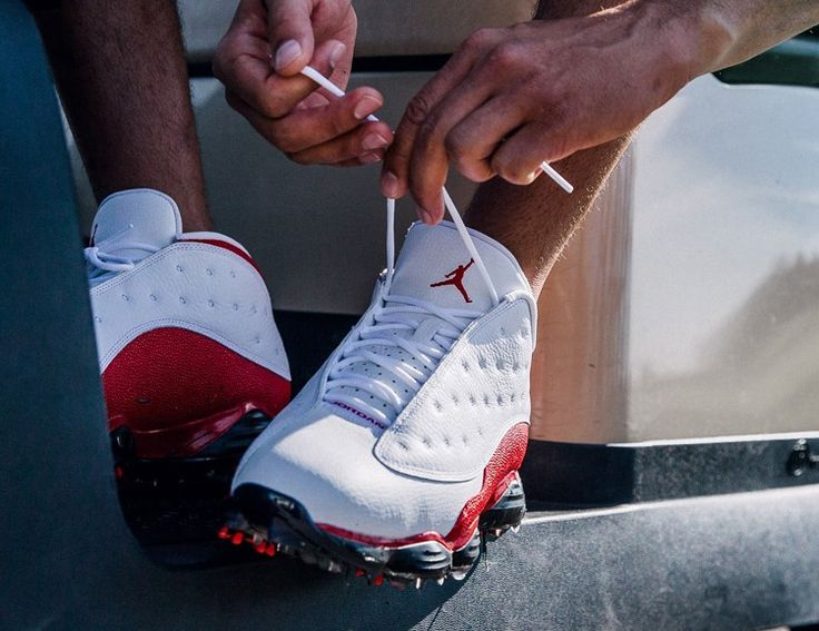 Based on the 1997 design of the original Air Jordan 13, this new golf shoe replaces the basketball outsole with Nike golf spikes while retaining the iconic silhouette. It is offered in two colorways: White/University Red and White/Black. Available May 19 on Nike.com.