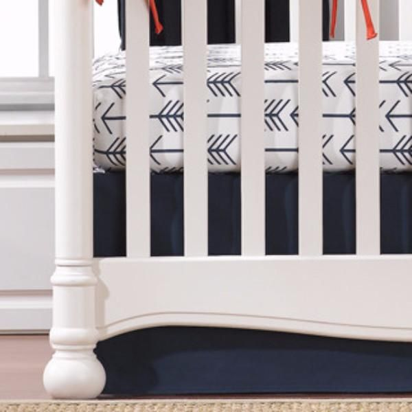 Navy arrow crib bedding, arrow crib skirts, arrow crib sheets, navy crib bedding. Made in USA. Ships in 24 to 48 hours.