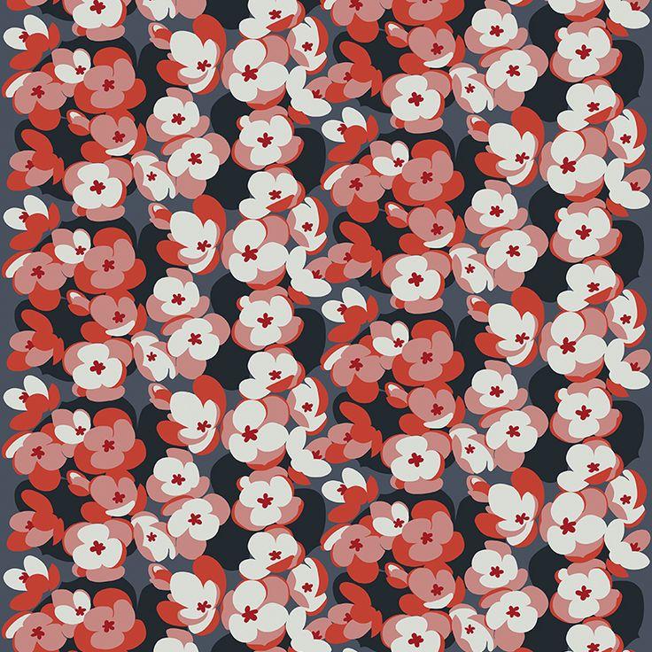 Sinivuokko Mini Coral // Metsovaara Premium Print collection from Materialised www.materialised.com  #metsovaara #print #collection #premium #pattern #textile #fabric #interiordesign #materialised