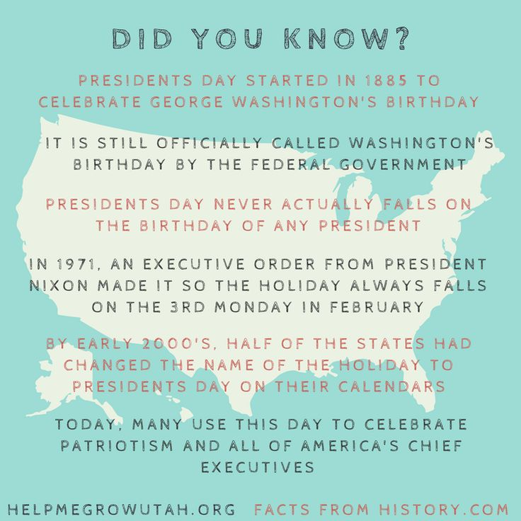 Fun facts about Presidents Day from Help Me Grow Utah and History.com