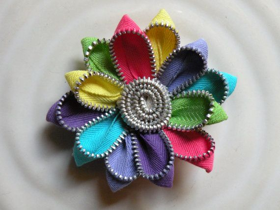 Rainbow Recycled Vintage Zipper Brooch or Hair Clip by Rezipit, $18.00