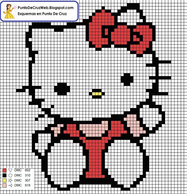 Hello Kitty tamaño llavero,punto de cruz.  Cara Delantera
