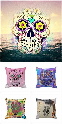 Give your home decor a jolt! Look at these Calavera - Decorative Skulls -  on some beautiful cushions.