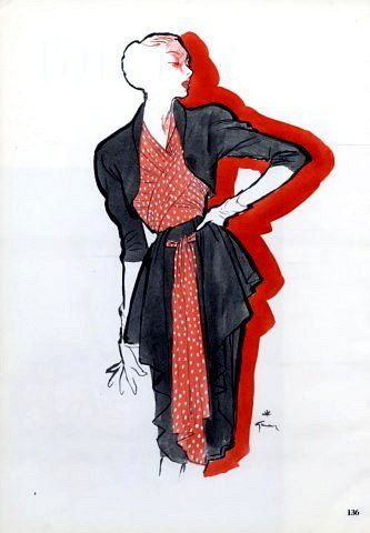 Nina Ricci design illustrated by Rene Gruau, 1946