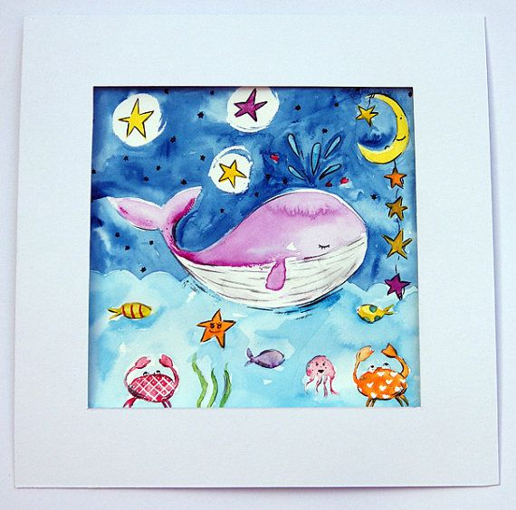 Whale Painting / Ocean Original Watercolor by WithHugsandKisses