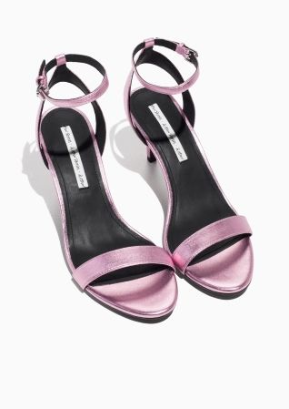 & Other Stories image 2 of Two-Strap Sandalette in Pink Neon