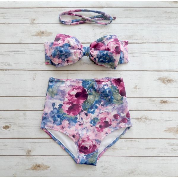 Bow Bikini Vintage Style High Waisted Retro Pin-Up Swimwear Blue Pink... ($49) ❤ liked on Polyvore featuring swimwear, bikinis, silver, women's clothing, pink bikini top, high waisted bathing suits, high waist bikini swimsuit, halter bikini top and halter top swimsuit