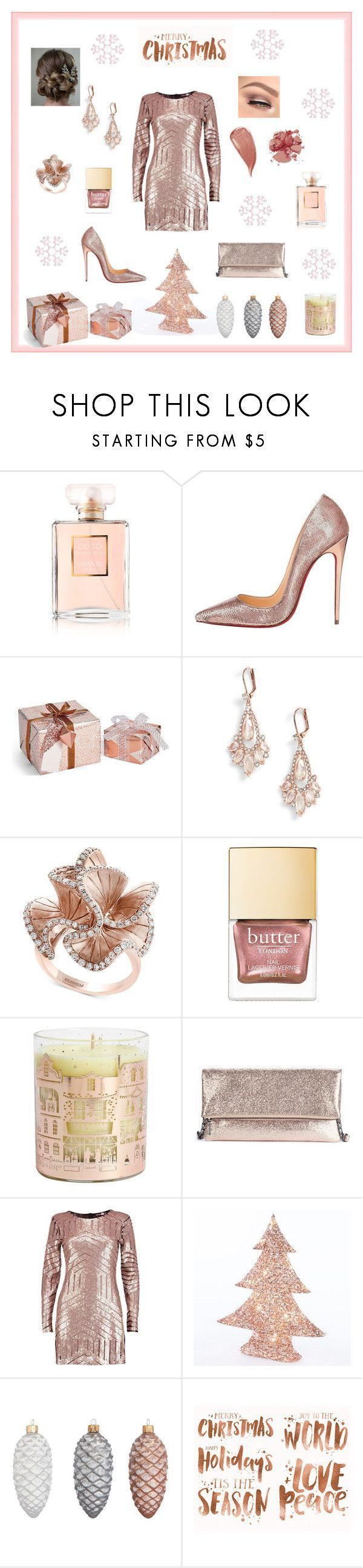 """Christmas Party Rose Gold"" by marnie1979 ❤ liked on Polyvore featuring Chanel, Christian Louboutin, Kate Spade, Effy Jewelry, NEOM Organics, Sole Society, Boohoo, John Lewis and Kevyn Aucoin #christianlouboutingold"