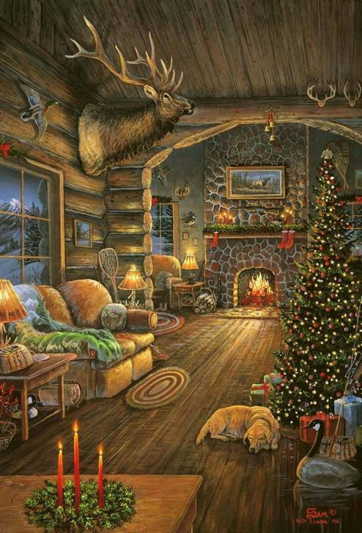 Best Cozy Christmas Images On Pinterest Cozy - Christmas cabin fireplace scenes